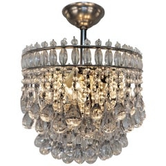 French, 1930s Chandelier with Tear Crystals