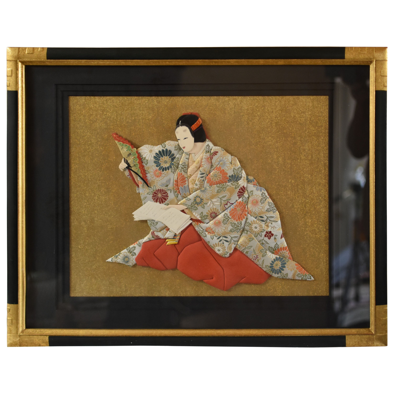 Antique Japanese Meiji Watanabe Nobukazu Triptych Woodblock Print Noh Play Asian Antiques