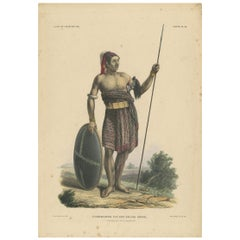 Antique Print with a Native of Sawu 'Indonesia' by Temminck, circa 1840