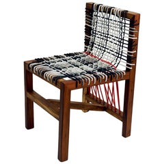 Contemporary Abstract Expression Chair in Kiaat Wood and Oiled Finish with Nylon