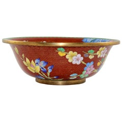 Japanese Cloisonné Style Brass Floral Bowl, circa 1940s