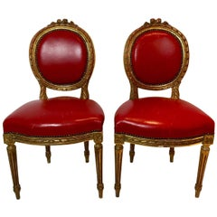 Pair of Red Louis XVI Style Giltwood Chairs
