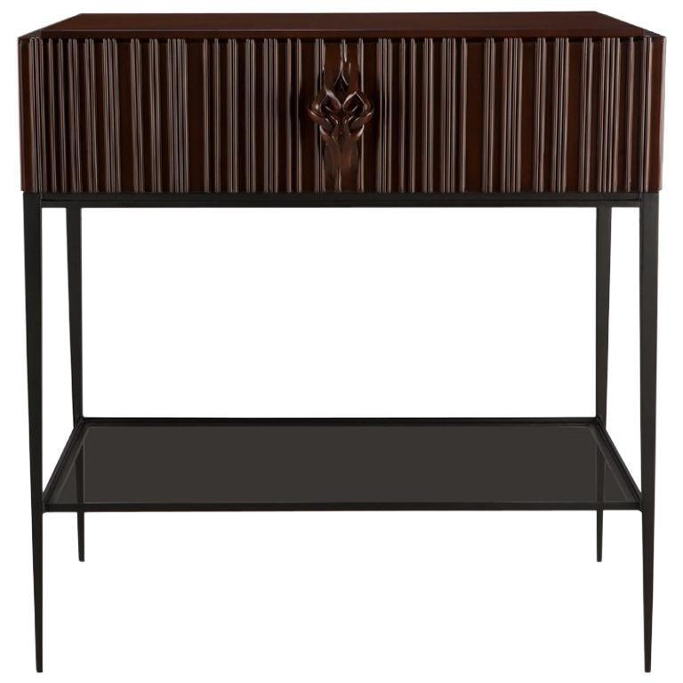 Thomas Nightstand in Carved Solid Mahogany Wood