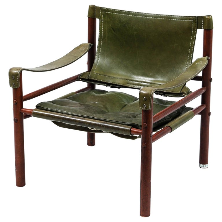Arne Norell Safari Chair, Green Leather, Sweden, 1970s