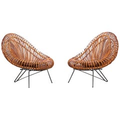 1950s Natural Basket Lounge Chairs by Janine Abraham and Dirk Jan Rol 'c'