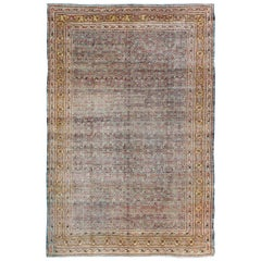 Antique Persian Tabriz Rug with All-Over Design in Icy Blue, Saffron and Gold