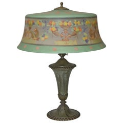 Pairpoint Reverse Painted Table Lamp Exeter Shade #X27 Base 3042 Dragon & Fruit