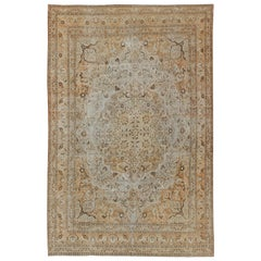 Antique Persian Tabriz Rug with Layered Medallion in Coral, Gray, Taupe, Cream