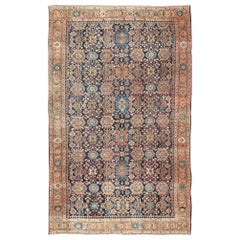 Large Antique Persian Hamedan Rug with Colorful Blossom Design in Blue Colors