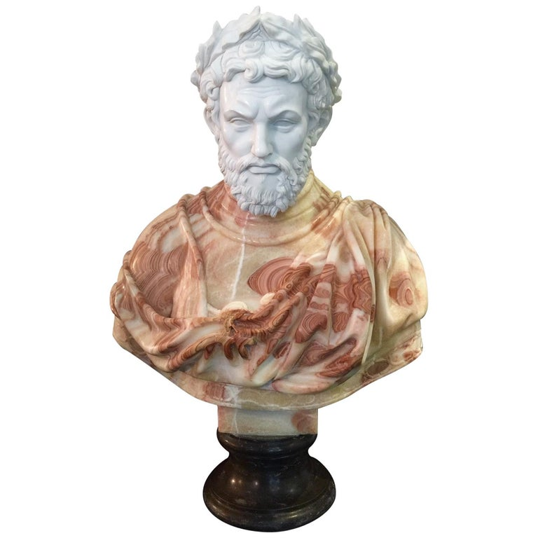 Large Carved Neoclassical Greco-Roman Style Marble Bust