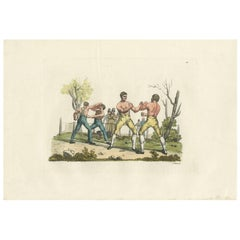 Antique Boxing Print by Raineri, 1819