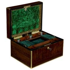 Bramah London Regency Brass and Rosewood Jewelry Box, circa 1850-1870