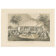 Antique Print of Wrestlers in Japan by Heine, 1857