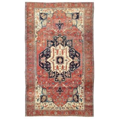 Antique Persian Large Serapi Rug in Red, Blue, and Ivory