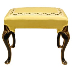 Black Lacquered Bench Covered in Yellow Moire Fabric with Gold Decorations