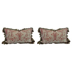 Pair of Decorative Rectangular Fortuny Cushions with Tassel Fringe