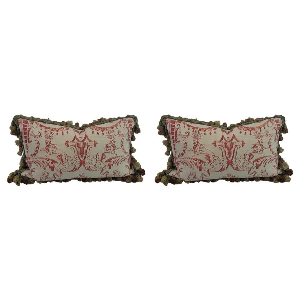 "Pair of Decorative Rectangular Fortuny Cushions in the ""MAZZARINO"" pattern"