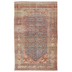 Blue Colored Large Antique Persian Malayer Rug with All-Over Design