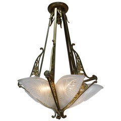 French Art Deco Chandelier by Jean Noverdy