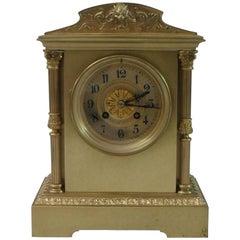 French Belle Époque Brass Mantel Clock