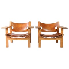 Pair of Børge Mogensen Spanish Chairs, 1960s