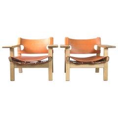 Pair of Børge Mogensen Spanish Chairs, 2017