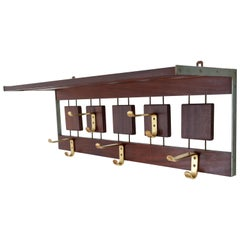 Brovorm Wall-Mounted Teak Coat Rack, 1960s