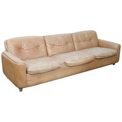 Sigurd Ressel Designed Three-Seat Tan Leather 1970s Sofa for Vatne Mobler Norway