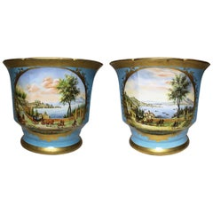 Continental 19th-20th Century Porcelain Cachepot Planter Vases Wine Coolers Pair