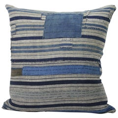 Vintage Blue and Tan Patchwork Style Pillow