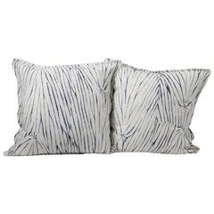 Vintage Shibori Dyed Textile Pillow with White Linen