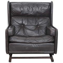 Torbjørn Afdal Original Black Leather Rocking Chair, Norway