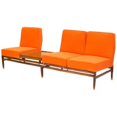 Midcentury Brazilian Wood Modular Sofa, Bench and Coffee Table, 1960s