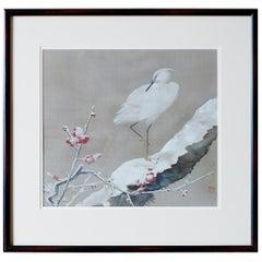 Japanese Showa Period Egret Painting by Miyata Yodo