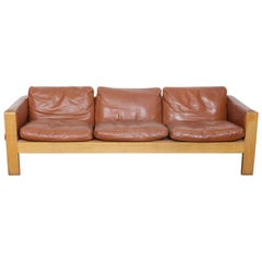1970s Oak Framed Cognac Leather Sofa by OPE, Sweden