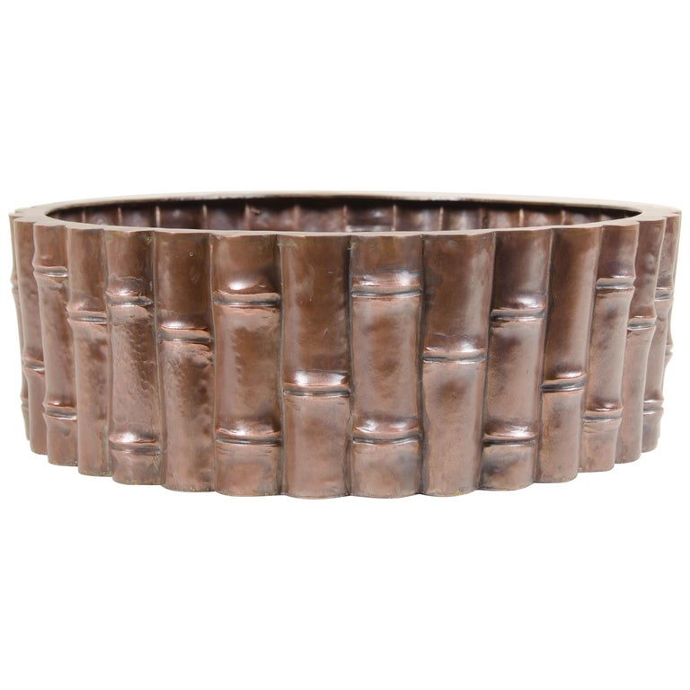 Bamboo Design Low Cachepot, Antique Copper by Robert Kuo, Limited Edition