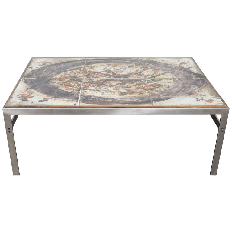 1960s Ceramic Tile and Metal Coffee Table by Birte Howard, Denmark For Sale