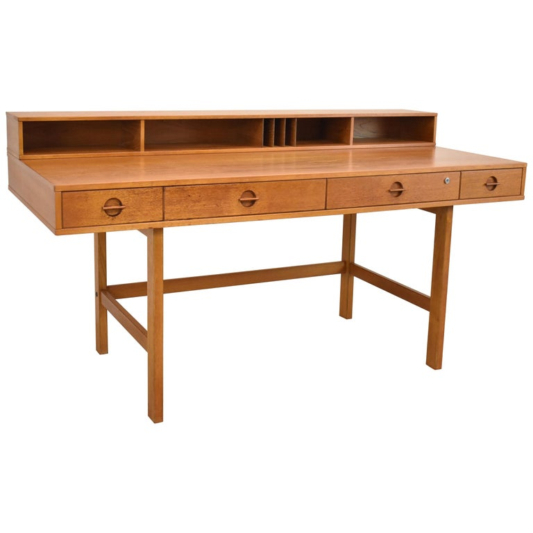 Danish Teak Flip Top Parnter's Desk by Peter Løvig Nielsen
