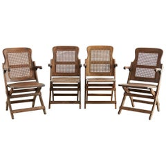Set of Four Ocean Steamer Folding Deck Chairs