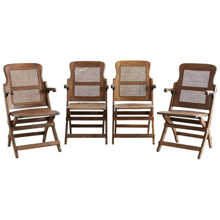 Set of Four Ocean Steamer Folding Deck Chairs