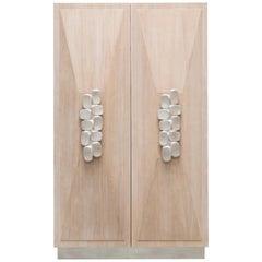 Faustine Bar Cabinet Silver Leaf Detail