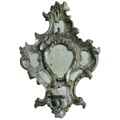 19th Century Italian Candle Sconces Silvered Carved Wood