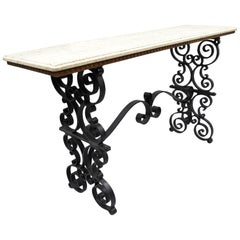 Gothic Scrolling Wrought Iron Console Hall Pastry Sofa Table Travertine Top