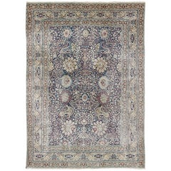 Blue and Ivory Antique Persian Tabriz Rug with All-Over Floral Design