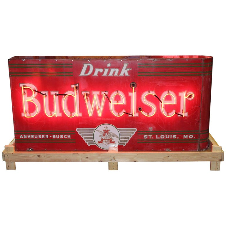 Rare 1950s Budweiser Double Sided Porcelain Bullnose Neon Sign