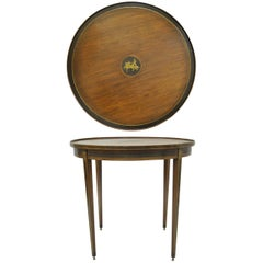 19th Century Neoclassical Brass Inlaid Mahogany Bouillotte Centre Table Round