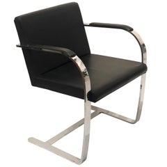 Set of Six Classic Brno Style Chairs in Black Leather & Polished Stainless Steel