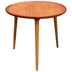 Mid-Century Modern Danish Circular Teak End Table, circa 1960s