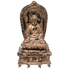 Early 20th Century Japanese Gilt Sakyamuni Buddha with Stele