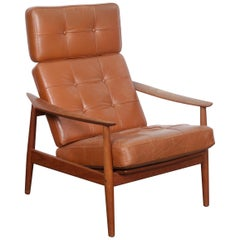 All Original Arne Vodder Leather Lounge Chair with Teak Frame, Denmark